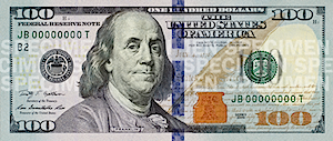 US one hundred dollar bill