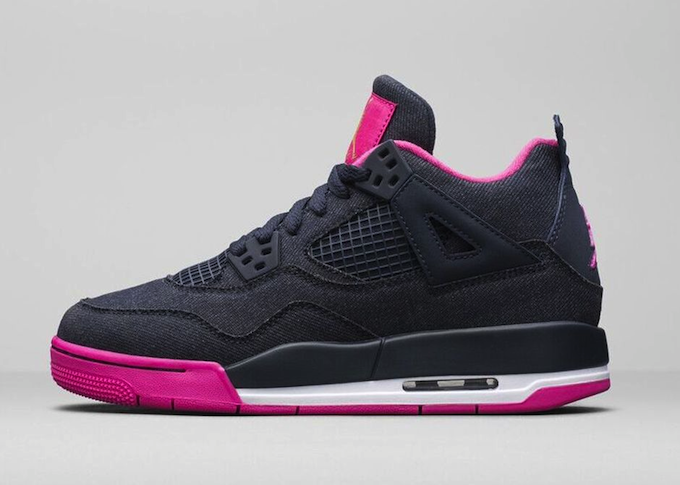 GIRLS' AIR JORDAN 4 RETRO DARK OBSIDIAN/VIVID PINK