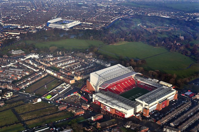 Anfield and Goodison Park separated by Stanley Park.